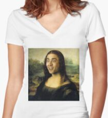 Nicolas Cage/Mona Lisa Women's Fitted V-Neck T-Shirt