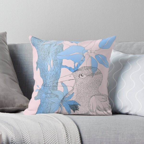 Bird in blue and pink Throw Pillow