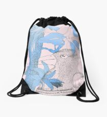 Bird in blue and pink Drawstring Bag