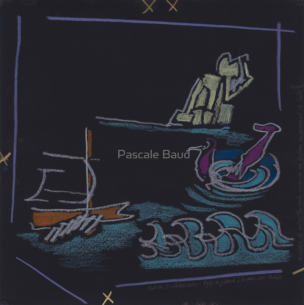 Night Drawings #B20 -  King Aegeus falling into the sea by Pascale Baud