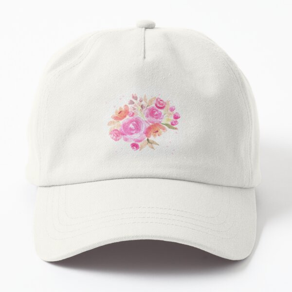 Watercolor pink floral bouquet with roses  Dad Hat