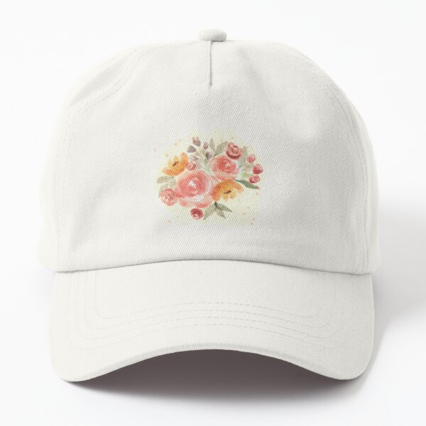 Watercolor beige floral bouquet with roses  Dad Hat
