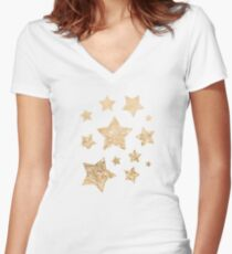 Beautiful champagne gold glitter sparkles Women's Fitted V-Neck T-Shirt