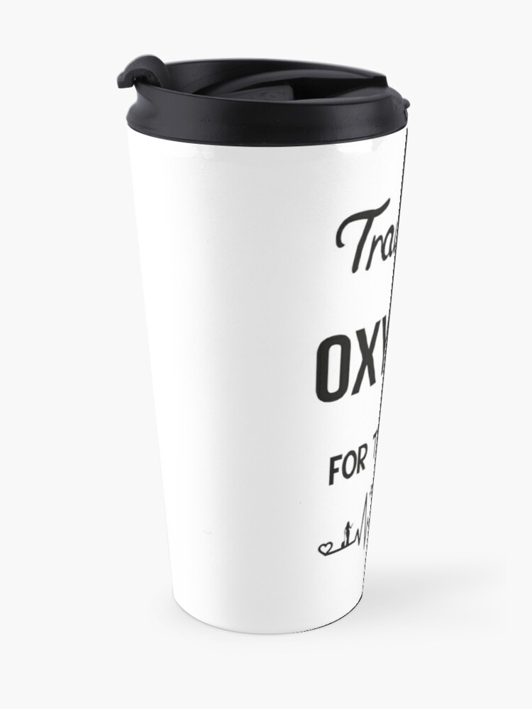 Alternate view of Travel is Oxygen for the Soul  heartbeat design Travel Mug