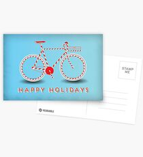 Candy Cane Bicycle - Happy Holidays Postcards