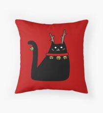 Reindeer Black Cat Throw Pillow