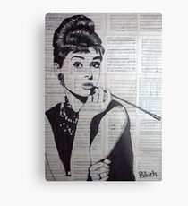 old book drawing famous people Audrey Metal Print