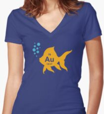 Periodic Table Elemental Gold Fish Women's Fitted V-Neck T-Shirt