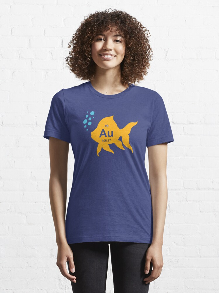 Alternate view of Periodic Table Elemental Gold Fish Essential T-Shirt