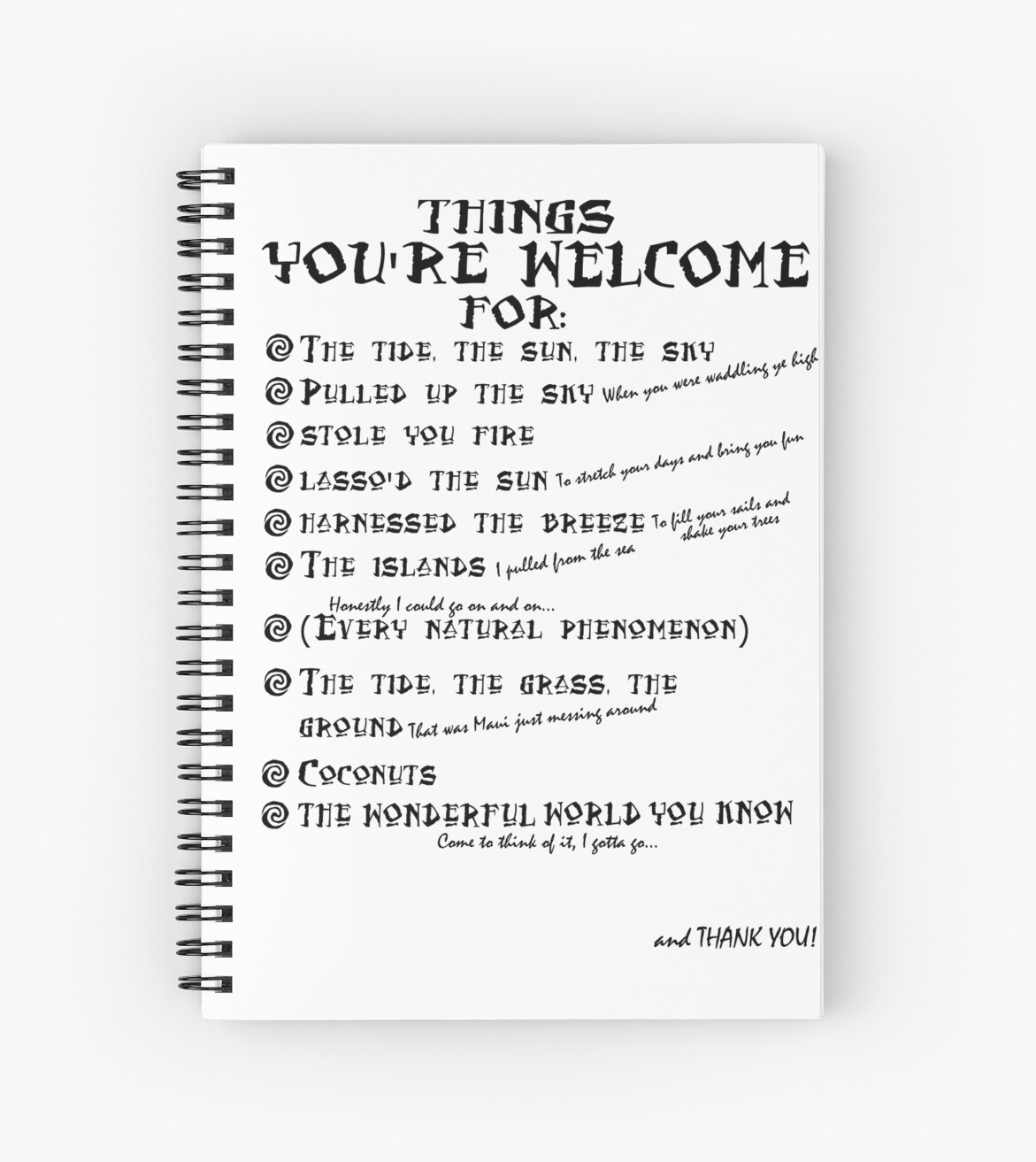 maui lyrics you re welcome reference spiral notebooks by
