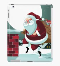 Cartoon Claus sneakily delivering gifts up on the rooftop iPad Case/Skin
