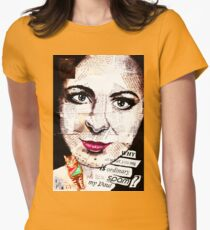 old book drawing famous people collage Womens Fitted T-Shirt