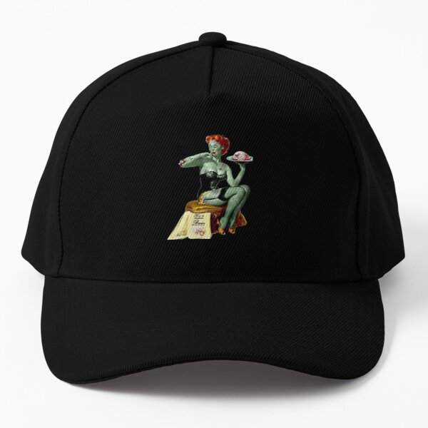 Pin Up Girl Zombie Halloween Day Of The Dead Baseball Cap