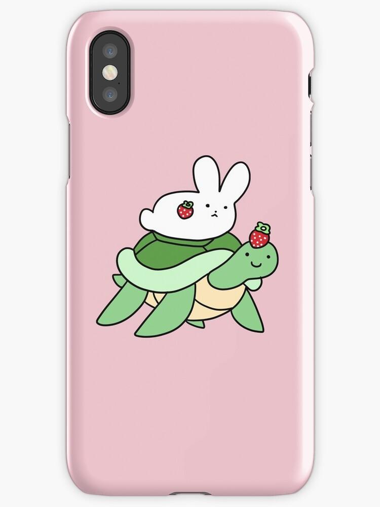 Strawberry Turtle and White Bunny by SaradaBoru