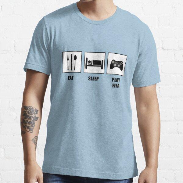 dormir y jugar fifa!  También disponible en colores invertidos:  http://www.redbubble.com/people/tappers24/works/12677229-eat-sleep-play-fifa Camiseta esencial