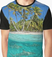 Over and under the sea tropical shore with sharks Graphic T-Shirt