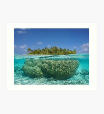 Tropical island above and underwater with coral Art Print
