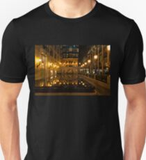 Elegant Symmetry - Reflections in Gold and Black Unisex T-Shirt
