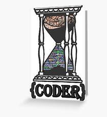 CODER  (hourglass)(programming) Greeting Card