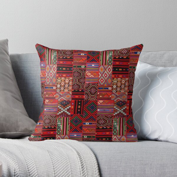 Bohemian Hippie Oriental Traditional Moroccan Collage Style Throw Pillow