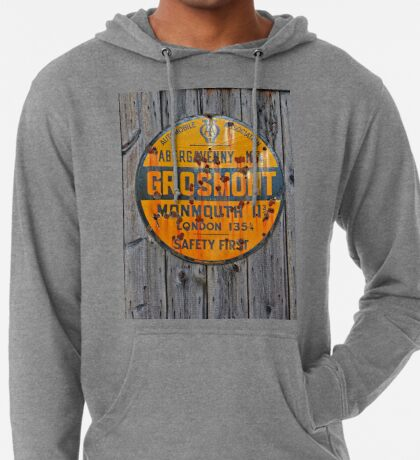 Grosmont - AA Abergavenny, old Enameled sign, Wales, Monmouthshire  Lightweight Hoodie