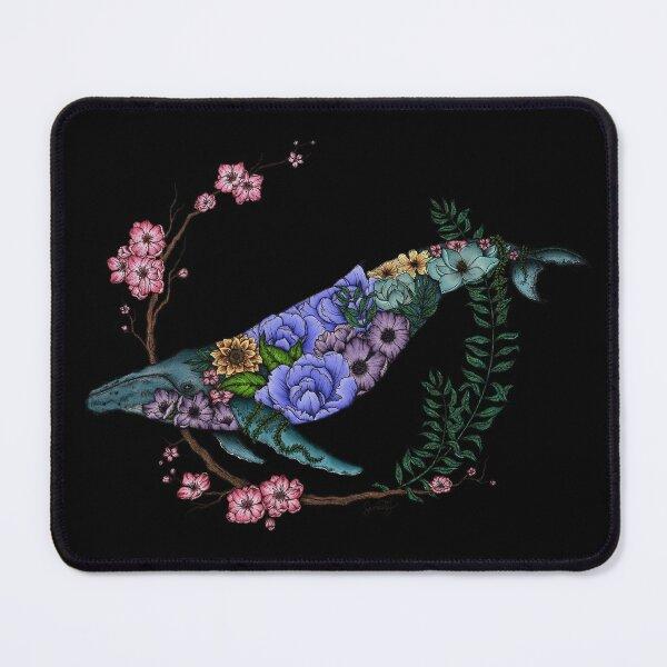 Floral Whale - Colour - Black Background Mouse Pad