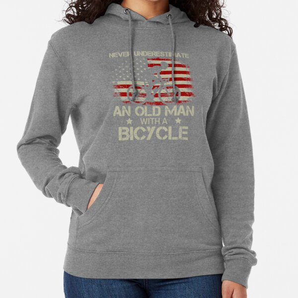 Never underestimate an Old Man with a Bicycle American Flag Lightweight Hoodie