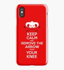 Keep calm and remove the arrow from your knee iPhone Case/Skin