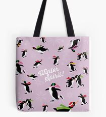 Winter Spirit - Ice Skating Penguins on pink Tote Bag