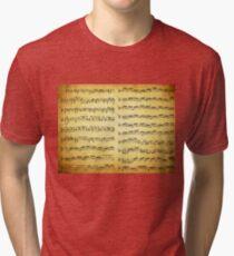 Music sheet on vintage paper Tri-blend T-Shirt