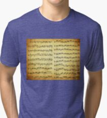 Music sheet on vintage paper Tri-blend T-Shirt
