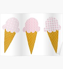 Strawberry Ice Cream Cones Poster