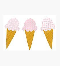 Strawberry Ice Cream Cones Photographic Print
