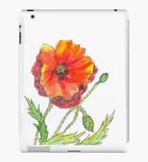 Red Poppy pen and wash iPad Case/Skin