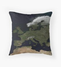 European NASA World Map Throw Pillow