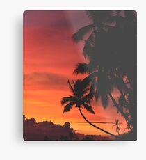 Coconut Trees Silhouette at Dusk Metal Print
