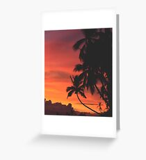 Coconut Trees Silhouette at Dusk Greeting Card