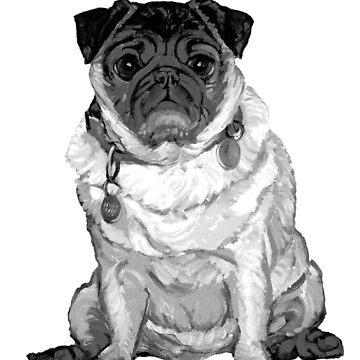 Pug O My Heart ~ Black and white by Janeoooo