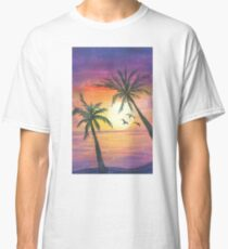 Tropical sunset with birds Classic T-Shirt