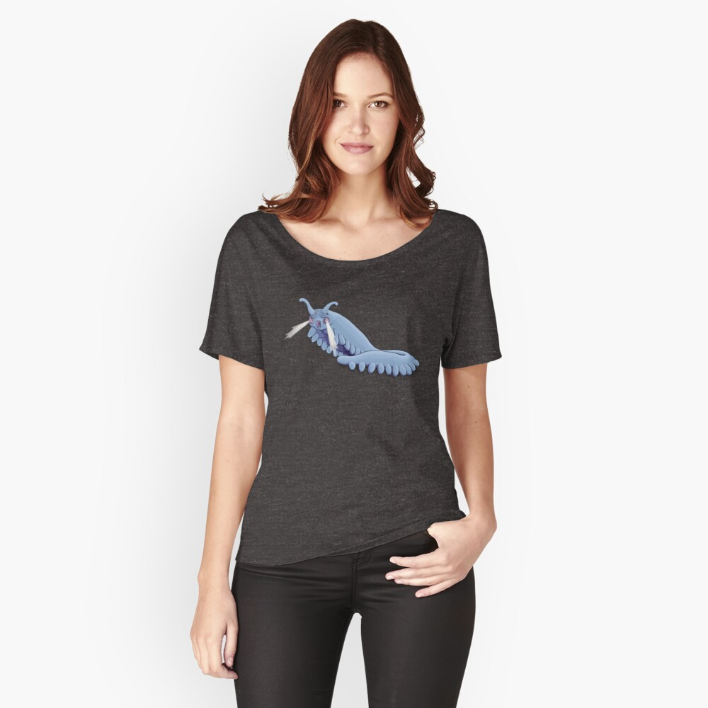 Blue Onychophora velvet worm  Women's Relaxed Fit T-Shirt Front