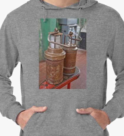 Old Ancient Miners Lamps for Coal Mining Lightweight Hoodie