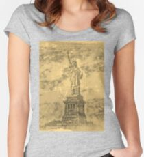 Vintage Statue Of Liberty #2 Women's Fitted Scoop T-Shirt