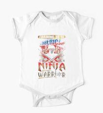 American Warrior T Shirts Ninja Gold Star Katana US Flag Kids Clothes