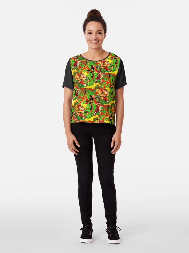 Alternate view of ABSTRACT POPART COLORFUL DESIGN - SPIRALS  Chiffon Top