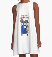 calvin and hobbes police box  A-Line Dress