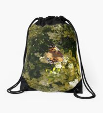 Yellow Admiral butterfly Drawstring Bag