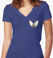 Pocket Momo Women's Fitted V-Neck T-Shirt