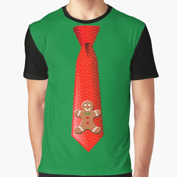 Christmas Tie with Gingerbread Man Graphic T-Shirt
