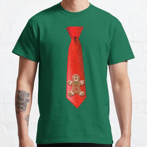 Christmas Tie with Gingerbread Man Classic T-Shirt