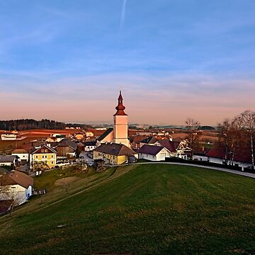 Village and church in warm sundown light II | landscape photography by patrickjobst